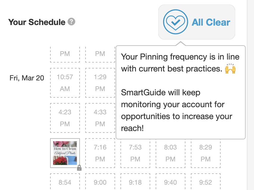 screen shot of Tailwind SmartGuide's all clear message
