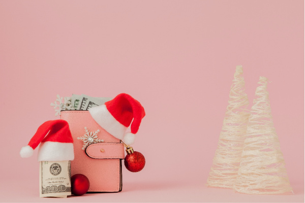pink background with money with a Santa hat and wallet and white bottle brush trees
