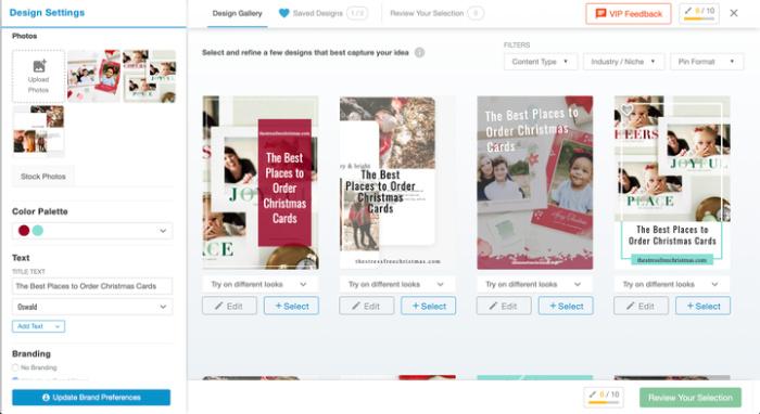screenshot of the screen where you choose pin designs
